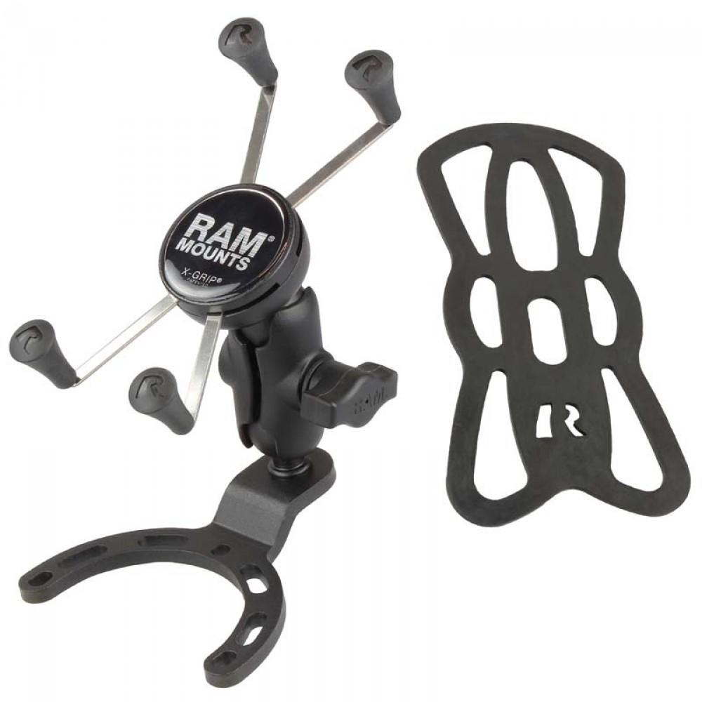 RAM X-Grip Голямо монтажно за смартфон с малка основа за монтаж на резервоар на мотор